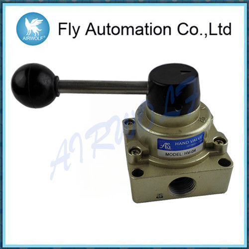 Manual Pneumatic hand valve HV-02 HV-03 HV-04 HV 3 Position 4 Way Pneumatic Hand Rotary Valve