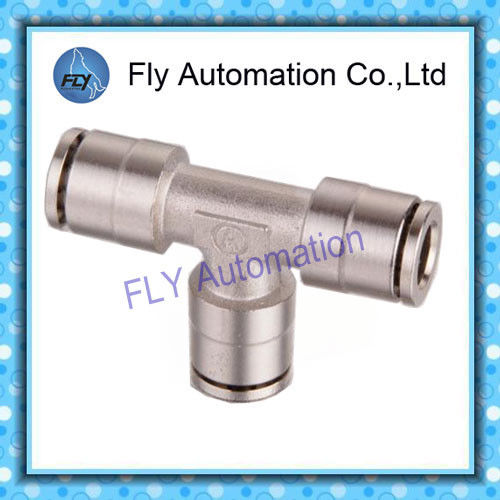 Pneumatic Tube Fittings T-Tee nickel-plated brass quick coupling PE series