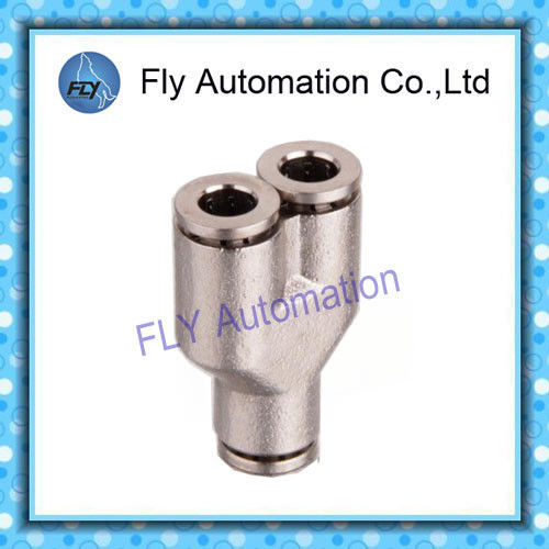 Y- Tee metal nickel-plated push-in fitting  Pneumatic Tube Fittings PY series